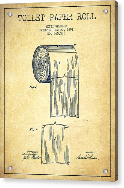 Toilet Paper Roll Patent Drawing From 1891 - Vintage Acrylic Print