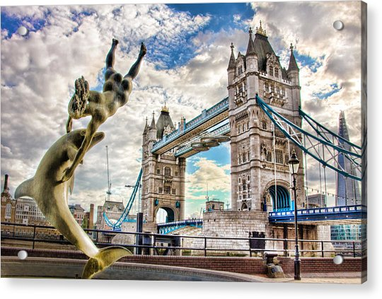 Tower Bridge And Girl With A Dolphin Acrylic Print