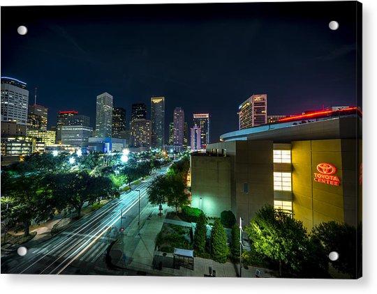 Toyota Center And Downtown Houston Acrylic Print