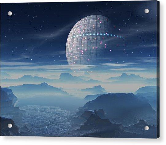 Tranus Alien Planet With Satellite Acrylic Print