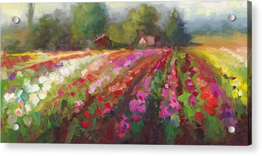 Acrylic Print featuring the painting Trespassing Dahlia Field Landscape by Talya Johnson