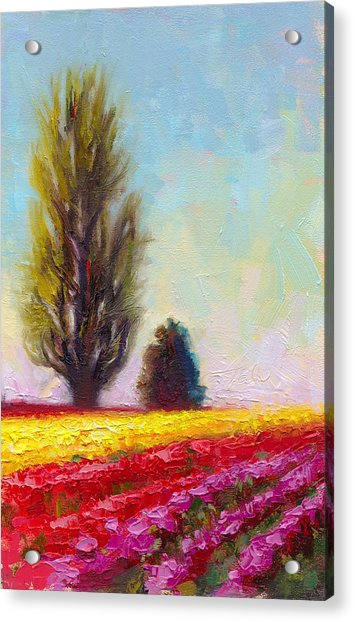 Acrylic Print featuring the painting Tulip Sentinels by Talya Johnson