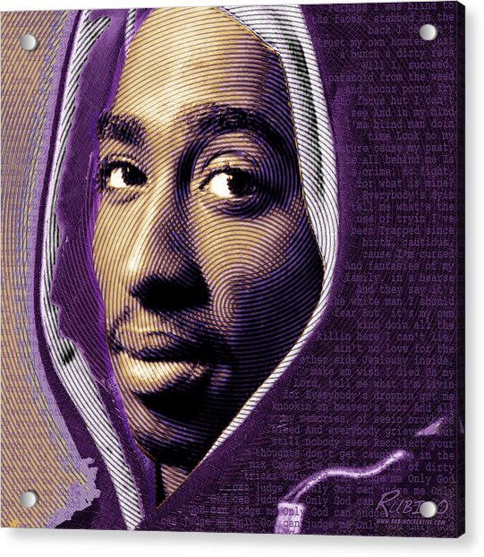 Tupac Shakur And Lyrics Acrylic Print
