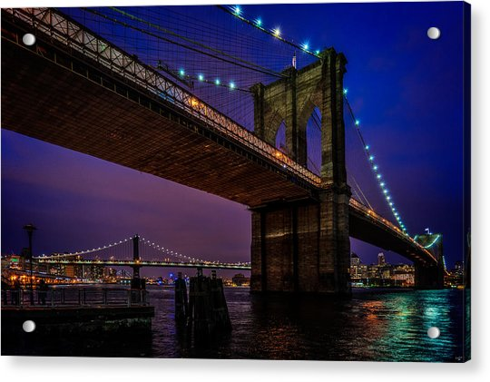 Acrylic Print featuring the photograph Twilight At The Brooklyn Bridge by Chris Lord
