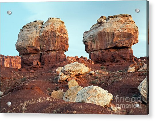 Twin Rocks At Sunrise Capitol Reef National Park Acrylic Print