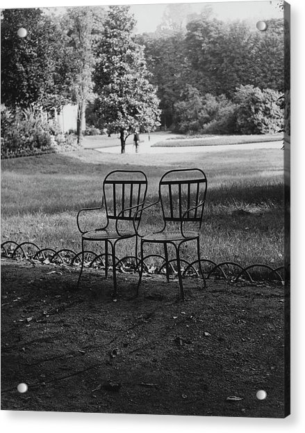 Two Chairs Near The Champs Elysees Acrylic Print by Erwin Blumenfeld