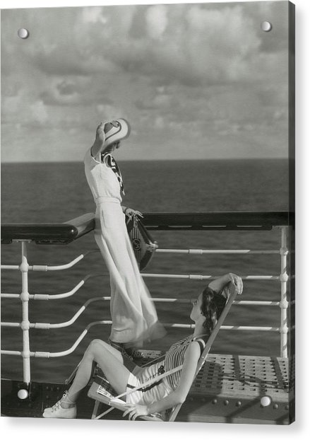 Two Models On The Deck Of A Cruise Ship Acrylic Print