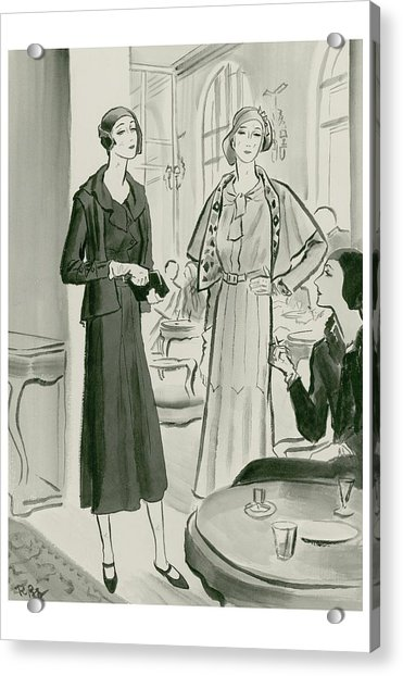 Two Women In A Restaurant Wearing Dresses Acrylic Print