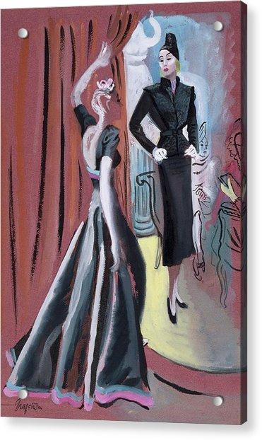 Two Women Wearing Designer Dresses Acrylic Print