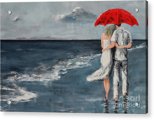 Under Our Umbrella - Modern Impressionistic Art - Romantic Scene Acrylic Print