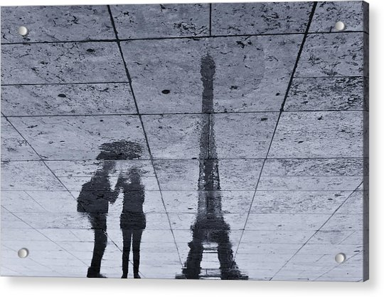 Under The Rain In Paris Acrylic Print