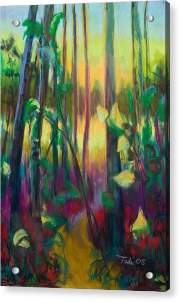 Acrylic Print featuring the painting Unexpected Path - Through The Woods by Talya Johnson
