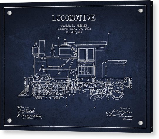 Vintage Locomotive Patent From 1892 Acrylic Print