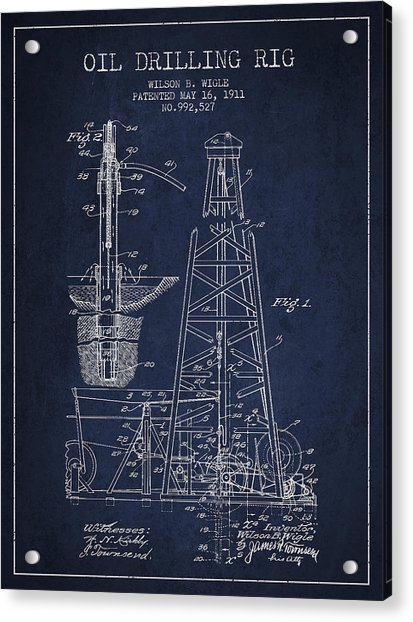 Vintage Oil Drilling Rig Patent From 1911 Acrylic Print