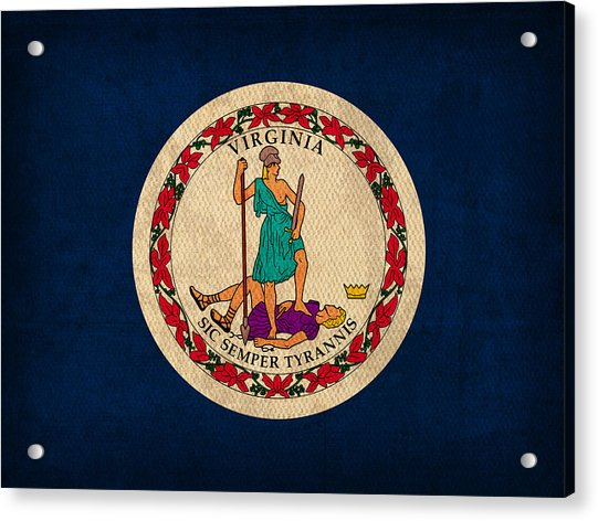 Virginia State Flag Art On Worn Canvas Acrylic Print