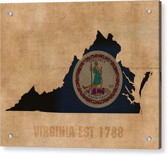 Virginia State Flag Map Outline With Founding Date On Worn Parchment Background Acrylic Print