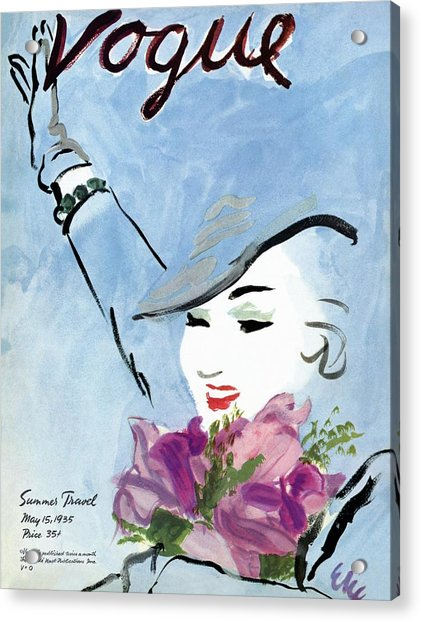 Vogue Cover Illustration Of A Woman Holding Acrylic Print