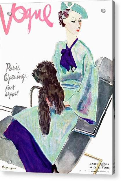 Vogue Cover Illustration Of A Woman With Dog Acrylic Print