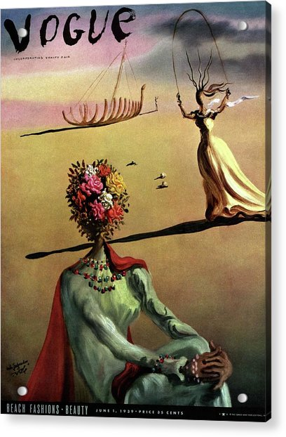 Vogue Cover Illustration Of A Woman With Flowers Acrylic Print