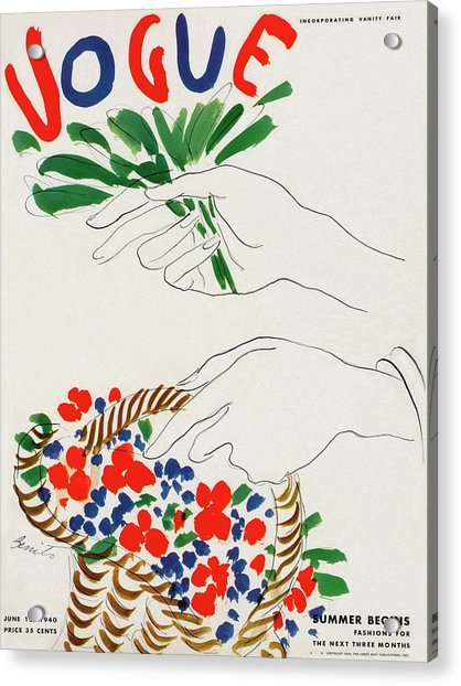 Vogue Cover Illustration Of Hands Holding Acrylic Print