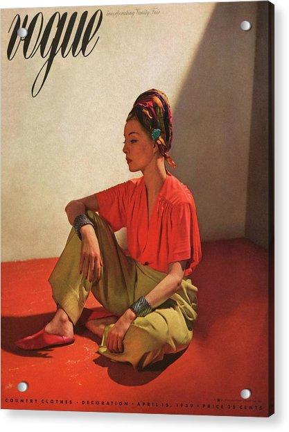 Vogue Cover Illustration Of Model Helen Bennett Acrylic Print