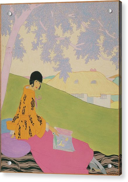Vogue Illustration Of A Woman Sitting On A Hill Acrylic Print