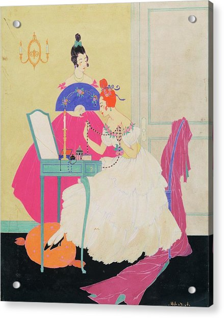 Vogue Illustration Of Two Women Around A Vanity Acrylic Print