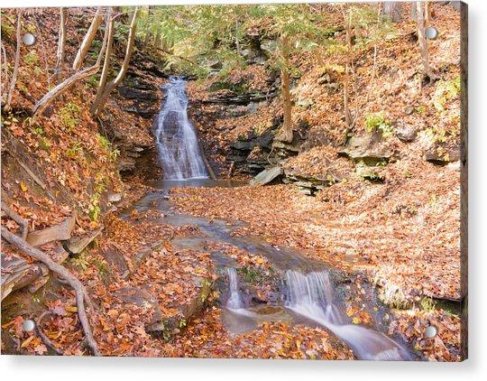 Waterfall In The Fall Acrylic Print