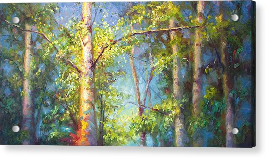 Acrylic Print featuring the painting Welcome Home - Birch And Aspen Trees by Talya Johnson