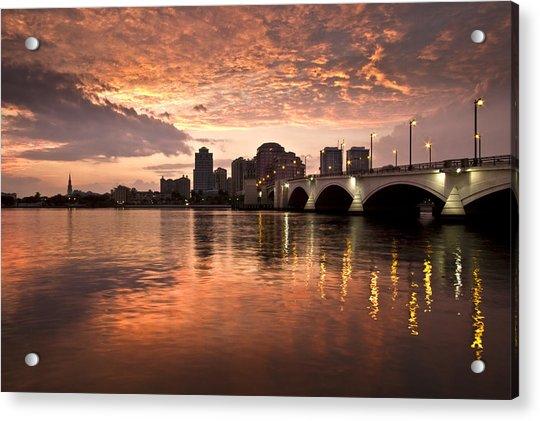 West Palm Beach Skyline At Sunset Acrylic Print