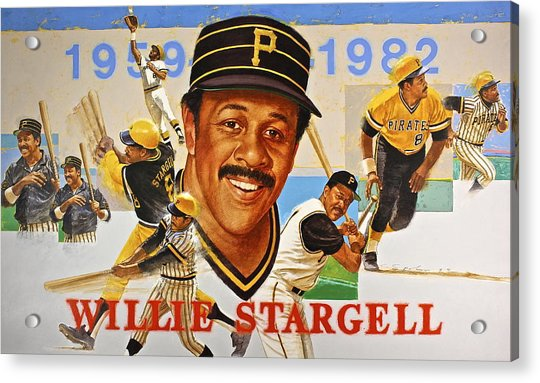 Acrylic Print featuring the painting Willie Stargell by Cliff Spohn