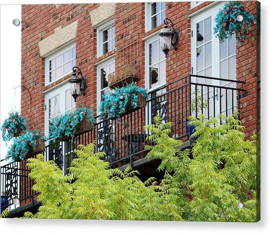 Acrylic Print featuring the photograph Blue Flowers On A Balcony  by Cynthia Guinn