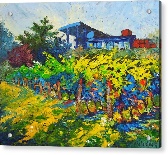Winery Painting With Oils On Black Canvas Acrylic Print