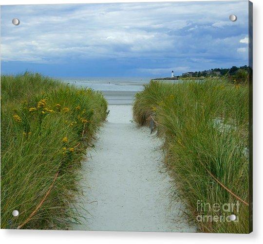 Wingaersheek Beach Path And Annisquam Lighthouse Acrylic Print
