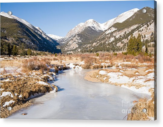 Winter At Horseshoe Park In Rocky Mountain National Park Acrylic Print