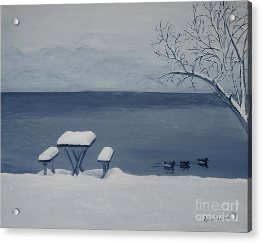 Winter By The Lake Acrylic Print
