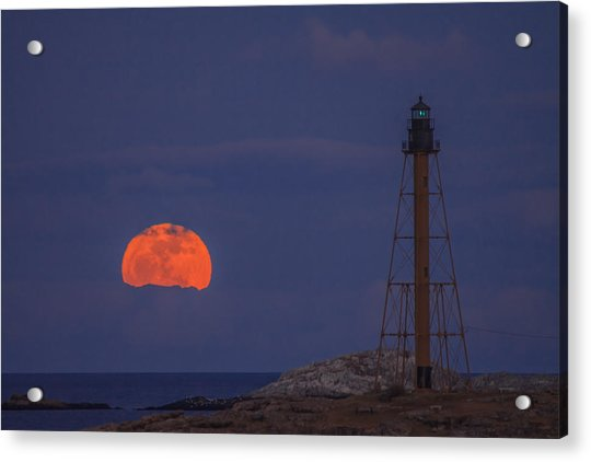 Winter Moon Rising Over Marblehead Light Acrylic Print