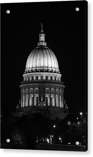 Wisconsin State Capitol Building At Night Black And White Acrylic Print