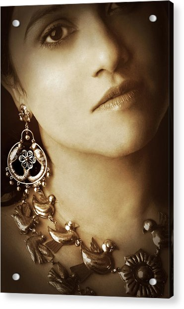 Woman In Mexican Silver Jewelry Acrylic Print
