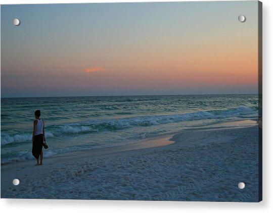 Woman On Beach At Dusk Acrylic Print