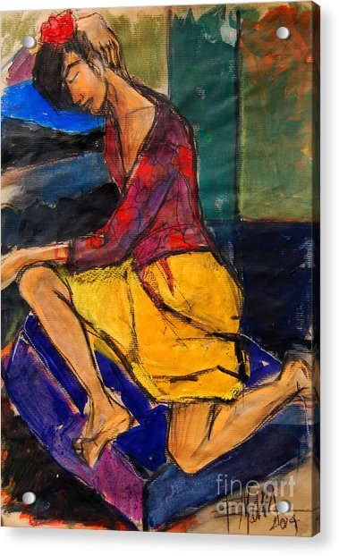 Woman On Purple Pillow - Pia #3 - Figure Series Acrylic Print