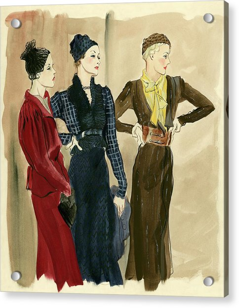 Women Wearing Schiaparelli Acrylic Print by Rene Bouet-Willaumez