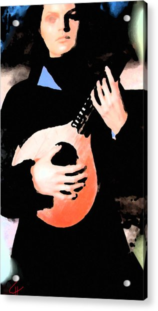 Acrylic Print featuring the painting Women With Her Guitar by Colette V Hera  Guggenheim