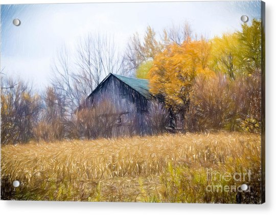 Wooden Autumn Barn Acrylic Print