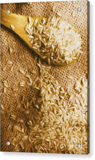 Wooden Tablespoon Serving Of Uncooked Brown Rice Acrylic Print