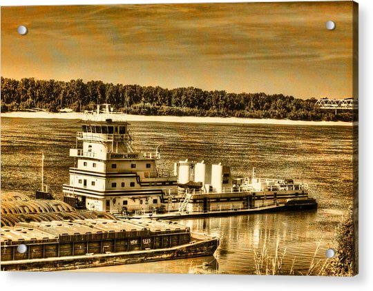Working The River - Mississippi River Acrylic Print