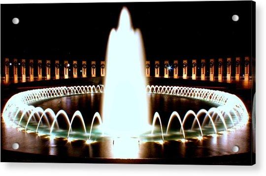 World War II Memorial And Fountain At Night Acrylic Print