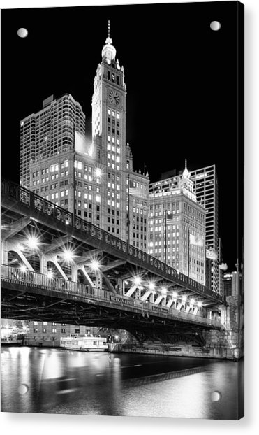 Wrigley Building At Night In Black And White Acrylic Print