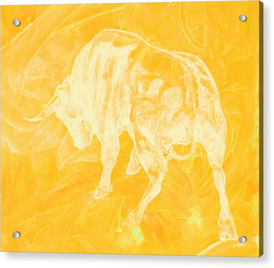 Yellow Bull Negative Acrylic Print