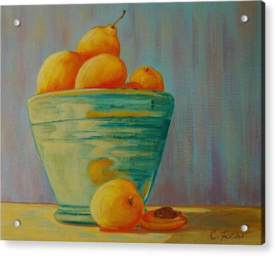 Yellow Fruit Blue Bowl Acrylic Print